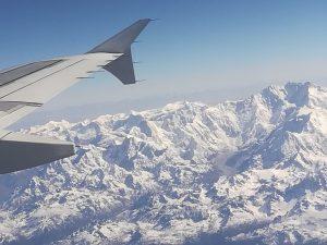 Flug über den Himalaya.