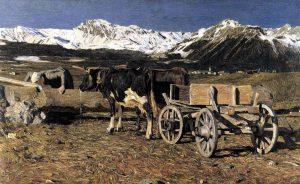 Kühe an der Tränke - Giovanni Segantini